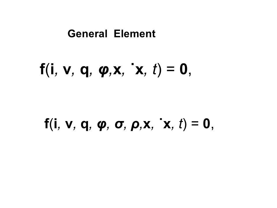 f(i, v, q, φ, σ, ρ,x, ˙x, t) = 0, f(i, v, q, φ,x, ˙x, t) = 0, General Element