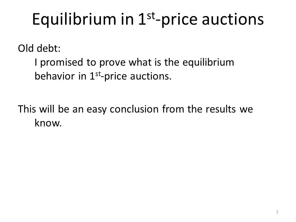 Bulow & Klemperer: proof 14 Proof of claim 1: The following must sell auction with n+1 bidders achieves the same revenue as the optimal revenue: Run the optimal auction with n players; if item is unsold, give it to bidder n+1 bidder for free.  But this must-sell auction achieves the same revenue as the optimal auction with n bidders….