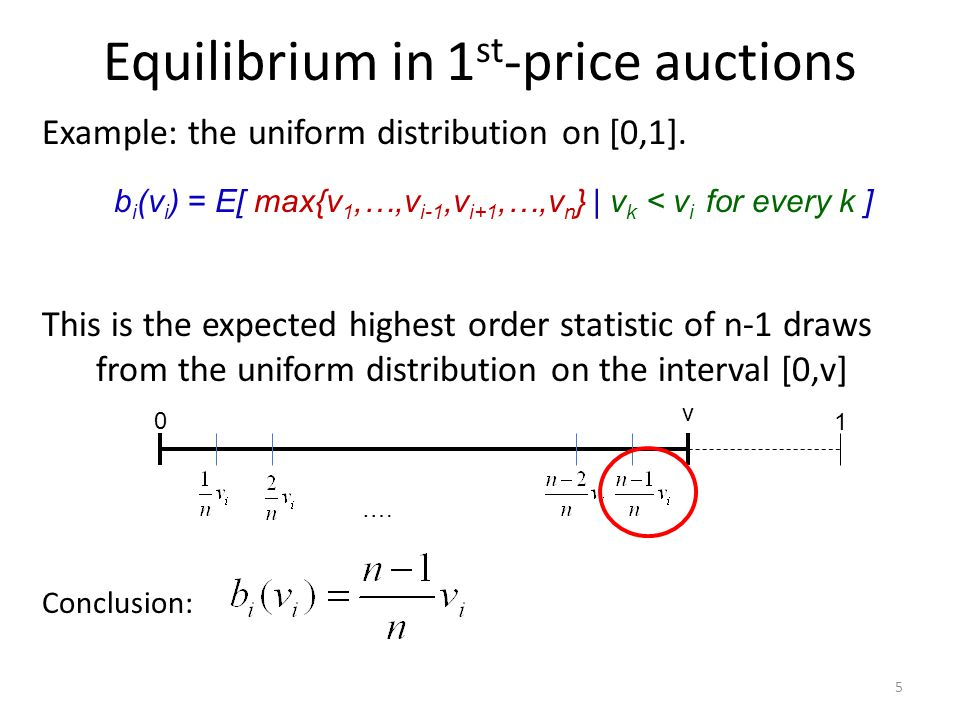Equilibrium in 1 st -price auctions Example: the uniform distribution on [0,1]. This is the expected highest order statistic of n-1 draws from the uni