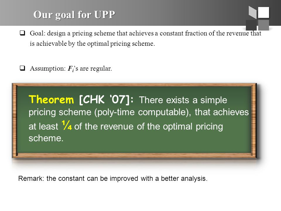 Our goal for UPP  Goal: design a pricing scheme that achieves a constant fraction of the revenue that is achievable by the optimal pricing scheme. 