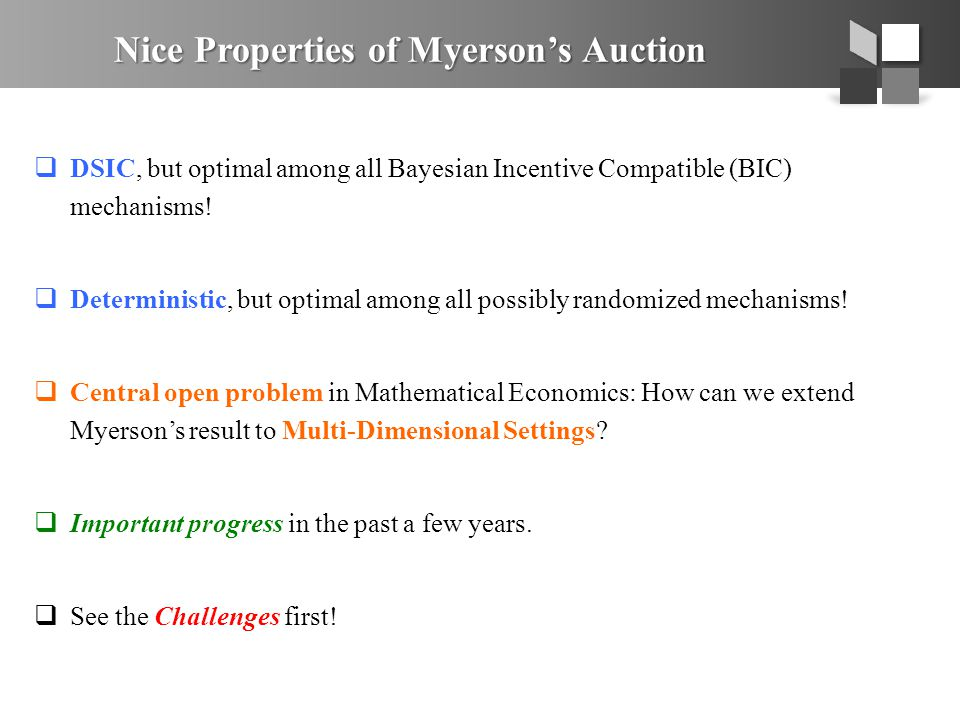 Nice Properties of Myerson's Auction  DSIC, but optimal among all Bayesian Incentive Compatible (BIC) mechanisms!  Deterministic, but optimal among