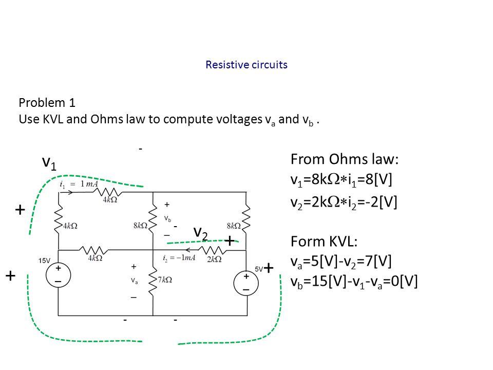 Resistive circuits Problem 2 Write equations to compute voltages v 1 and v 2, next find the current value of i 1 From KCL: 50 mA=v 1 /40+(v 1 -v 2 )/40 and 100 mA=v 2 /80+(v 2 -v 1 )/40 Multiply first equation by 40: 2=v 1 +v 1 -v 2 =2v 1 -v 2 From second equation: 8=v 2 +2(v 2 -v 1 )=3v 2 -2v 1 add both sides: 10=2v 2 => v 2 =5 [V], v 1 =1+v 2 /2=3.5[V] i 1 = (v 1 -v 2 )/40=-1.5/40=37.5 [mA] 50 mA 100 mA i1i1 i1i1 v2v2 v1v1