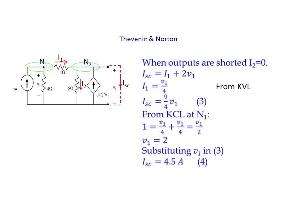 Thevenin & Norton I1I1 N2N2 I2I2 I sc N1N1 From KVL