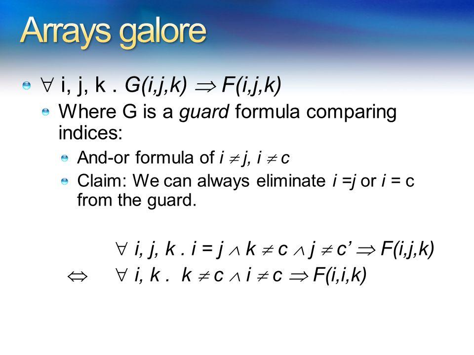  i, j, k. G(i,j,k)  F(i,j,k) Where G is a guard formula comparing indices: And-or formula of i  j, i  c Claim: We can always eliminate i =j or i =