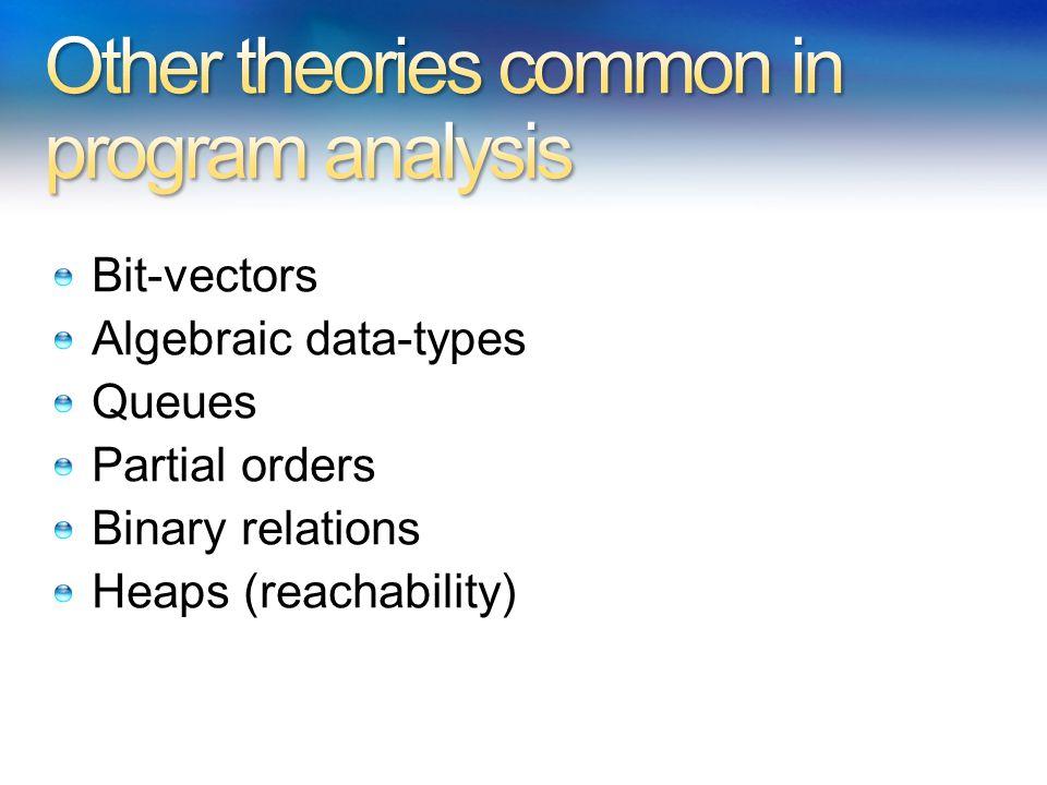 Bit-vectors Algebraic data-types Queues Partial orders Binary relations Heaps (reachability)