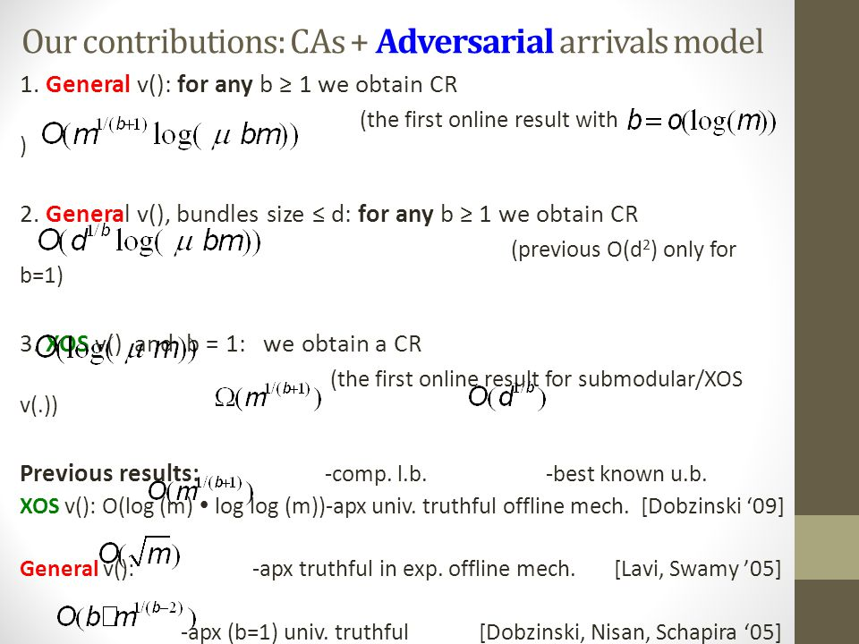 Our contributions: CAs + Adversarial arrivals model 1. General v(): for any b ≥ 1 we obtain CR (the first online result with ) 2. General v(), bundles