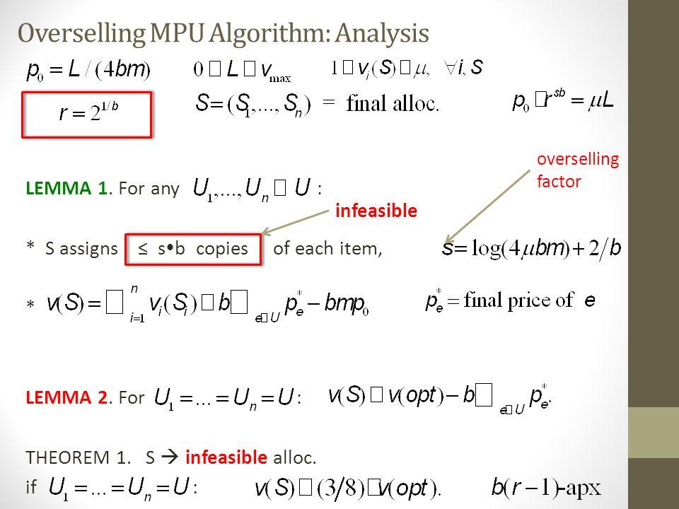 Overselling MPU Algorithm: Analysis LEMMA 1.