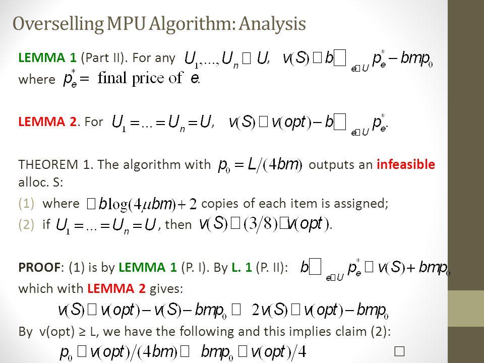Overselling MPU Algorithm: Analysis LEMMA 1 (Part II).
