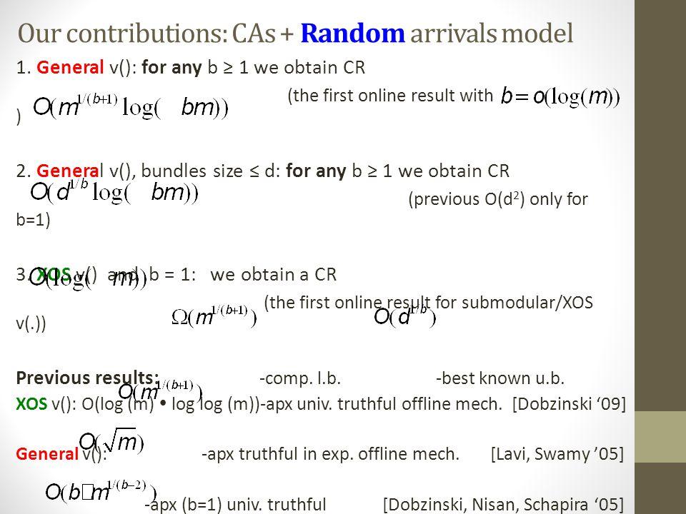 Our contributions: CAs + Random arrivals model 1.