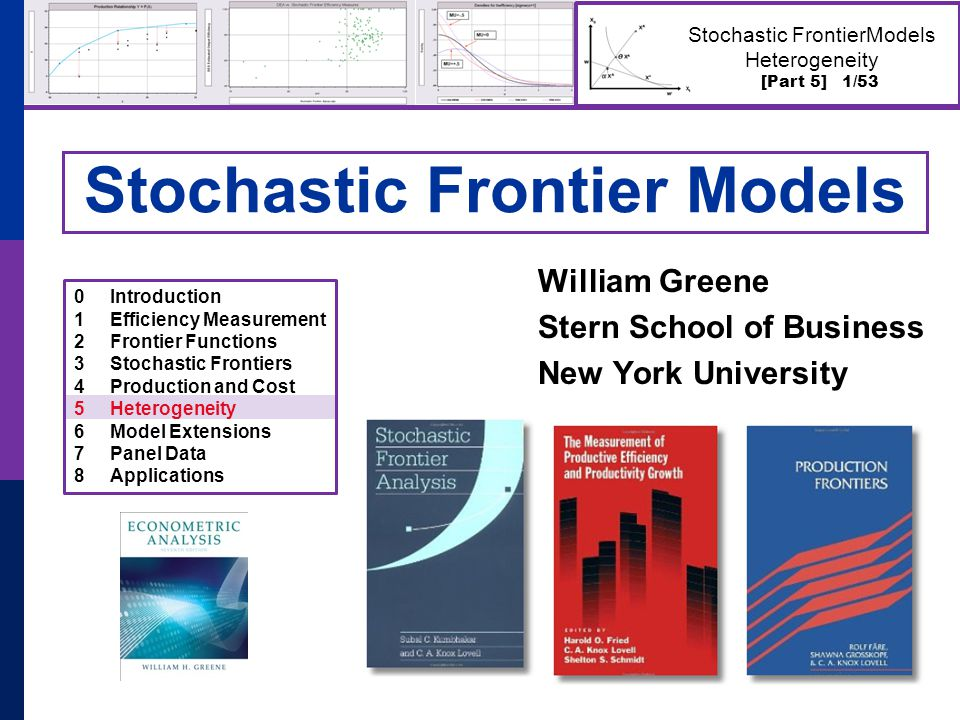 [Part 5] 22/53 Stochastic FrontierModels Heterogeneity Nursing Home Costs  44 Swiss nursing homes, 13 years  Cost, Pk, Pl, output, two environmental variables  Estimate cost function  Estimate inefficiency
