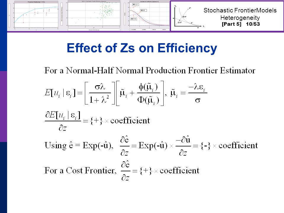 [Part 5] 10/53 Stochastic FrontierModels Heterogeneity Effect of Zs on Efficiency