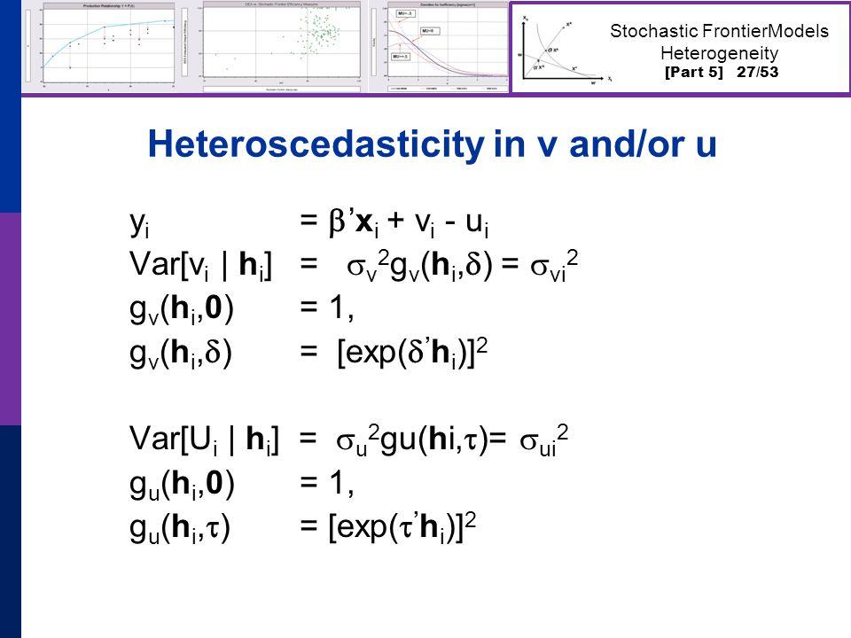 [Part 5] 27/53 Stochastic FrontierModels Heterogeneity Heteroscedasticity in v and/or u y i =  'x i + v i - u i Var[v i | h i ] =  v 2 g v (h i,  ) =  vi 2 g v (h i,0) = 1, g v (h i,  ) = [exp(  ' h i )] 2 Var[U i | h i ] =  u 2 gu(hi,  )=  ui 2 g u (h i,0) = 1, g u (h i,  ) = [exp(  ' h i )] 2