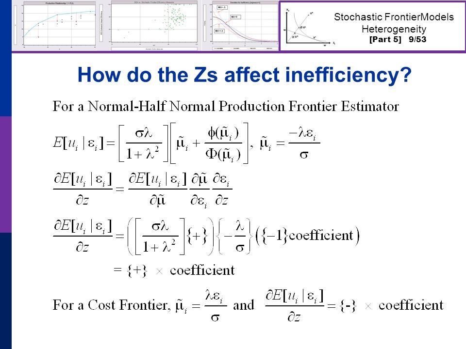 [Part 5] 10/53 Stochastic FrontierModels Heterogeneity Effect of Zs on Efficiency