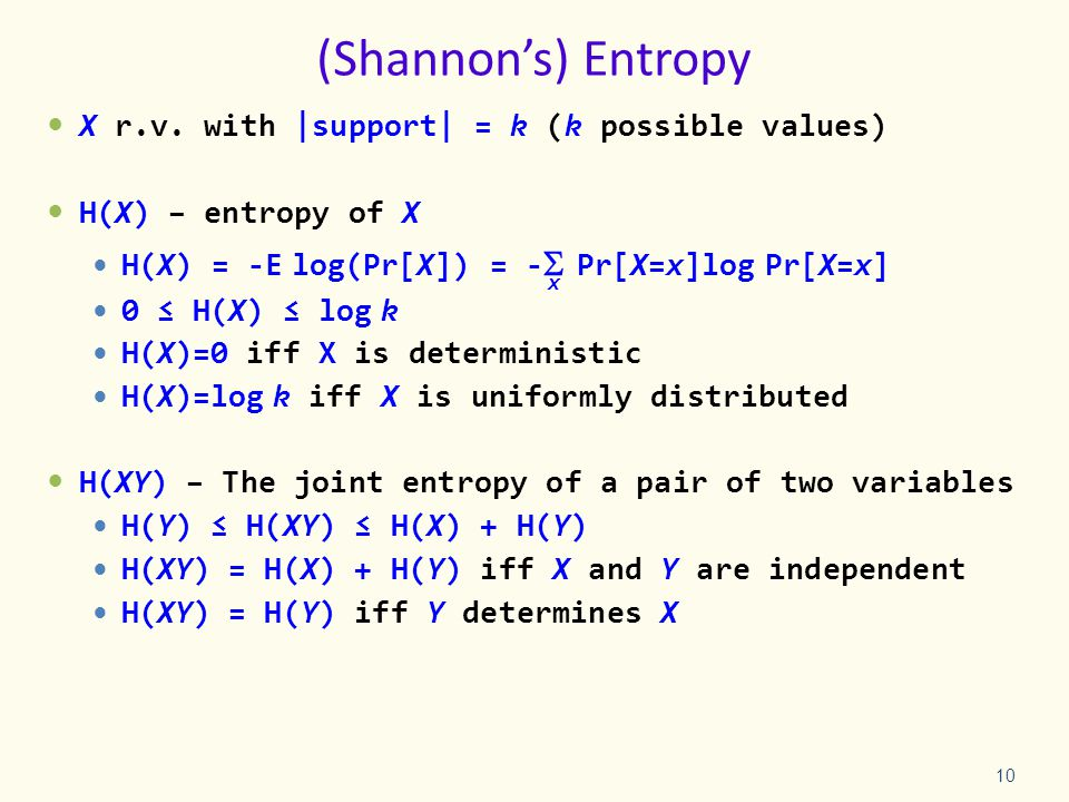 (Shannon's) Entropy X r.v.
