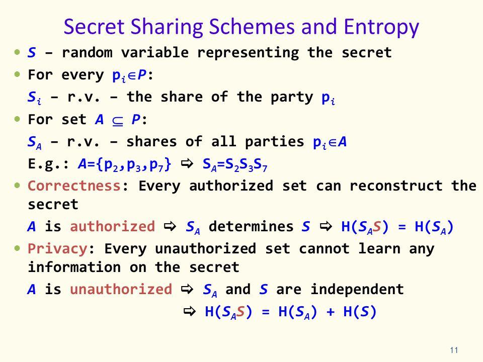 S – random variable representing the secret For every p i P: S i – r.v.