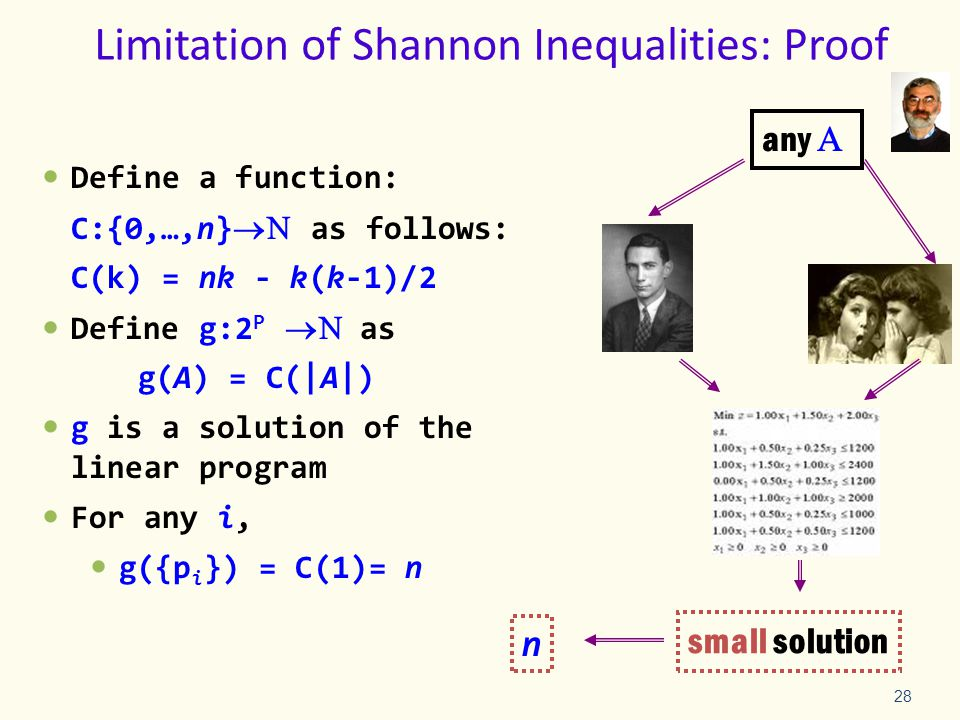 28 Limitation of Shannon Inequalities: Proof Define a function: C:{0,…,n}  as follows: C(k) = nk - k(k-1)/2 Define g:2 P   as g(A) = C(|A|) g is a solution of the linear program For any i, g({p i }) = C(1)= n any  small solution n