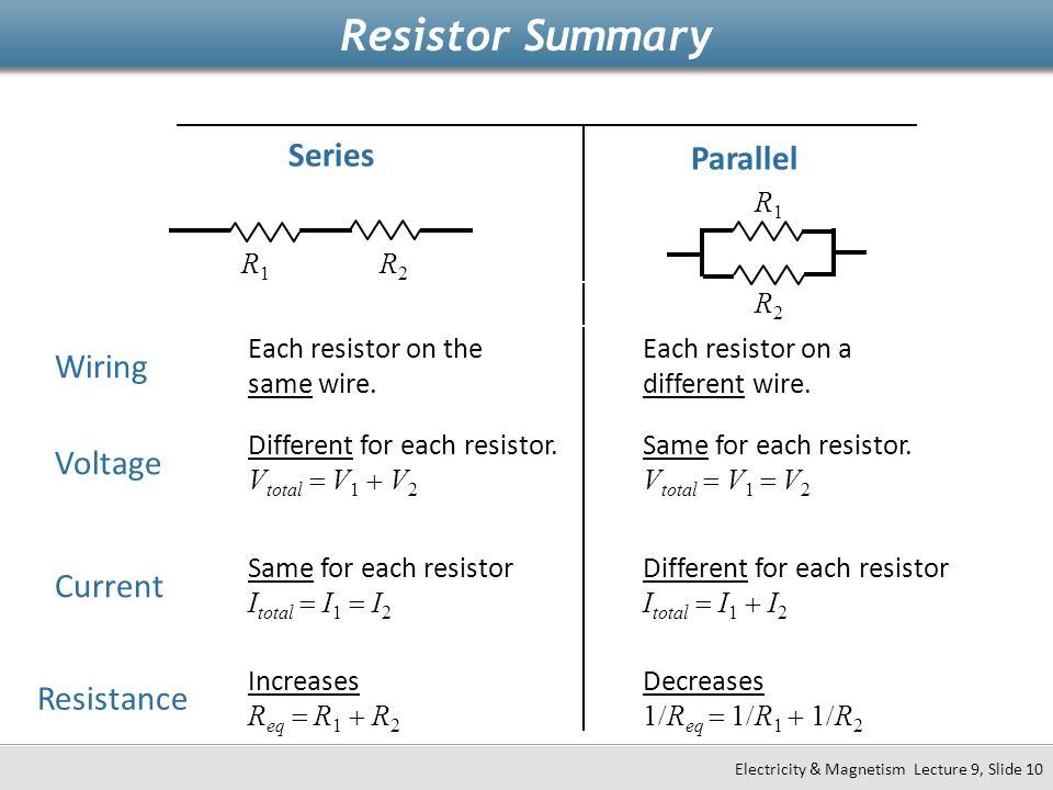 Voltage Current Resistance Series Parallel Different for each resistor. V total  V 1  V 2 Increases R eq  R 1  R 2 Same for each resistor I total