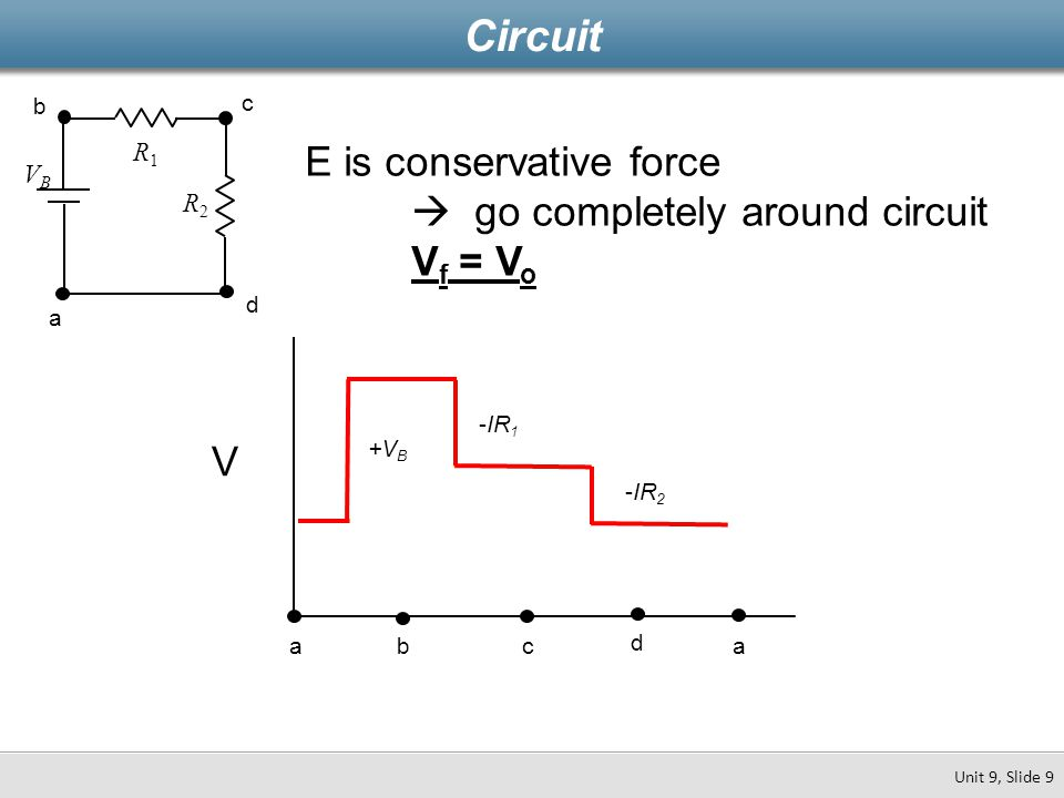 Example 9.2 In the circuit shown: V  18V, R 1  1  R 2  2  R 3  3  and  R 4  4  How much electrical energy does the battery put into the circuit every second in the previous problem.