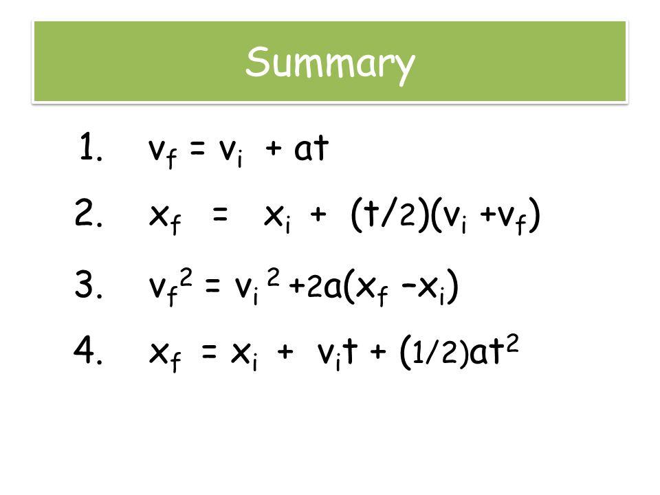 Summary 1. v f = v i + at 2. x f = x i + (t/ 2 )(v i +v f ) 3. v f 2 = v i 2 + 2 a(x f –x i ) 4. x f = x i + v i t + ( 1/2) at 2