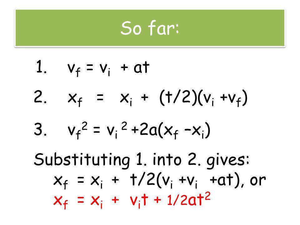 Finally, the Four Kinematic Equations 1.v f = v i + at 2.