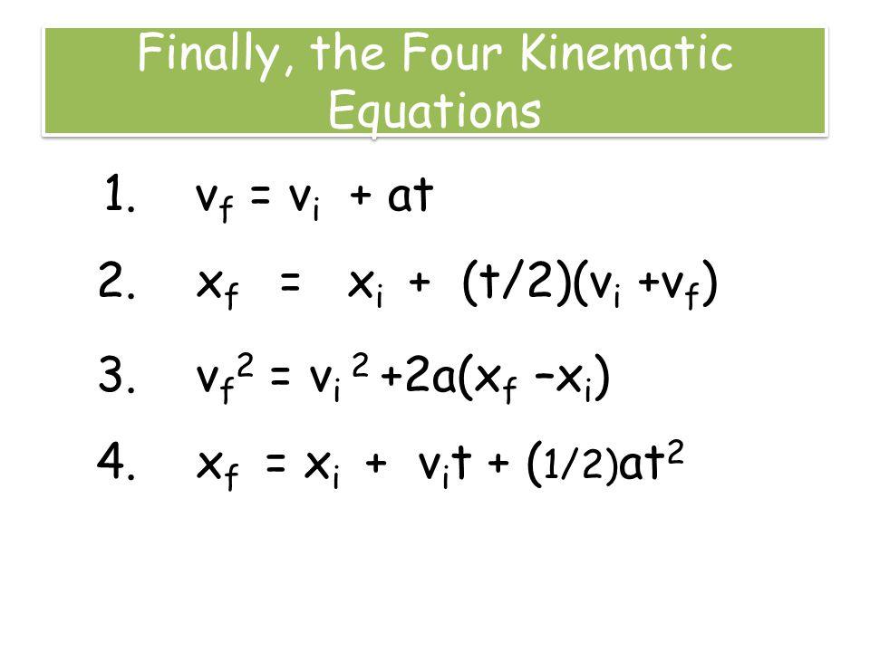 Finally, the Four Kinematic Equations 1. v f = v i + at 2. x f = x i + (t/2)(v i +v f ) 3. v f 2 = v i 2 +2a(x f –x i ) 4. x f = x i + v i t + ( 1/2)