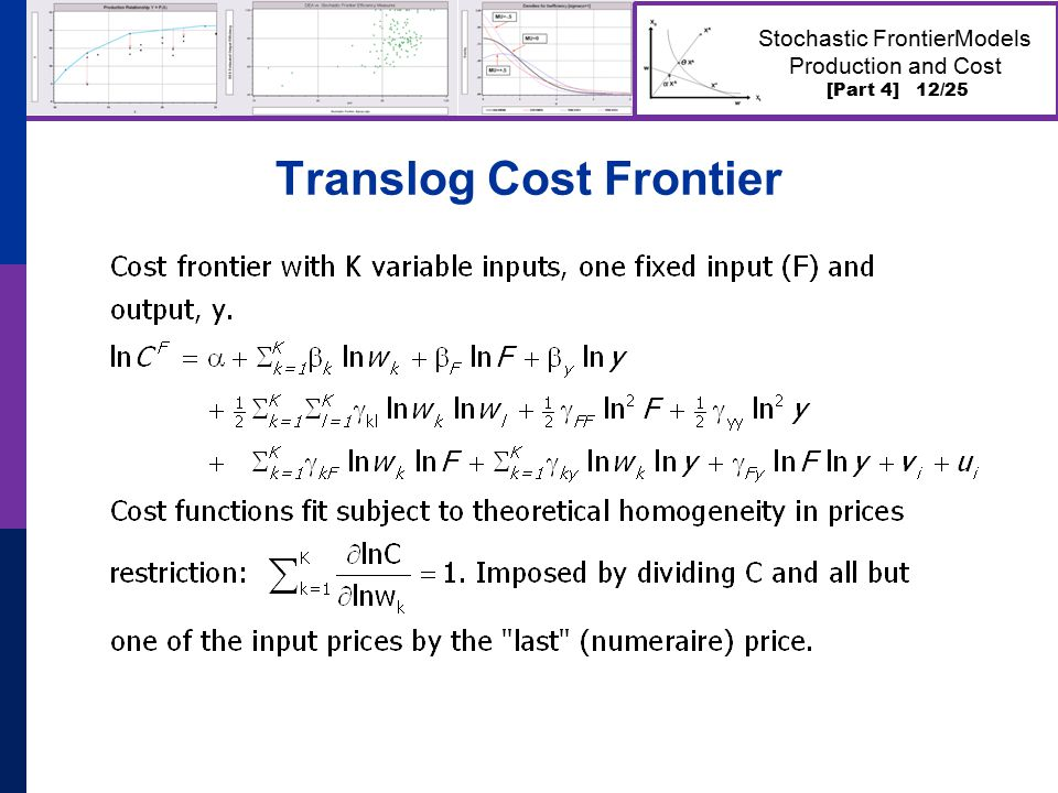 [Part 4] 12/25 Stochastic FrontierModels Production and Cost Translog Cost Frontier