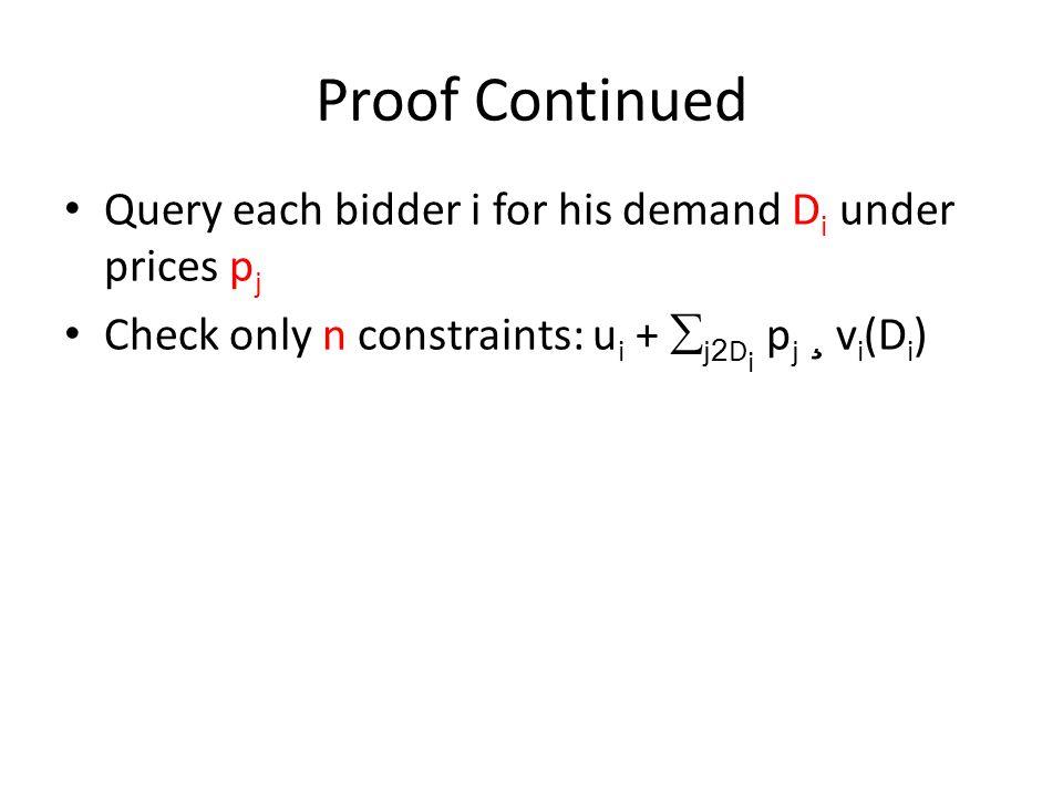 Proof Continued Query each bidder i for his demand D i under prices p j Check only n constraints: u i +  j 2 D i p j ¸ v i (D i )