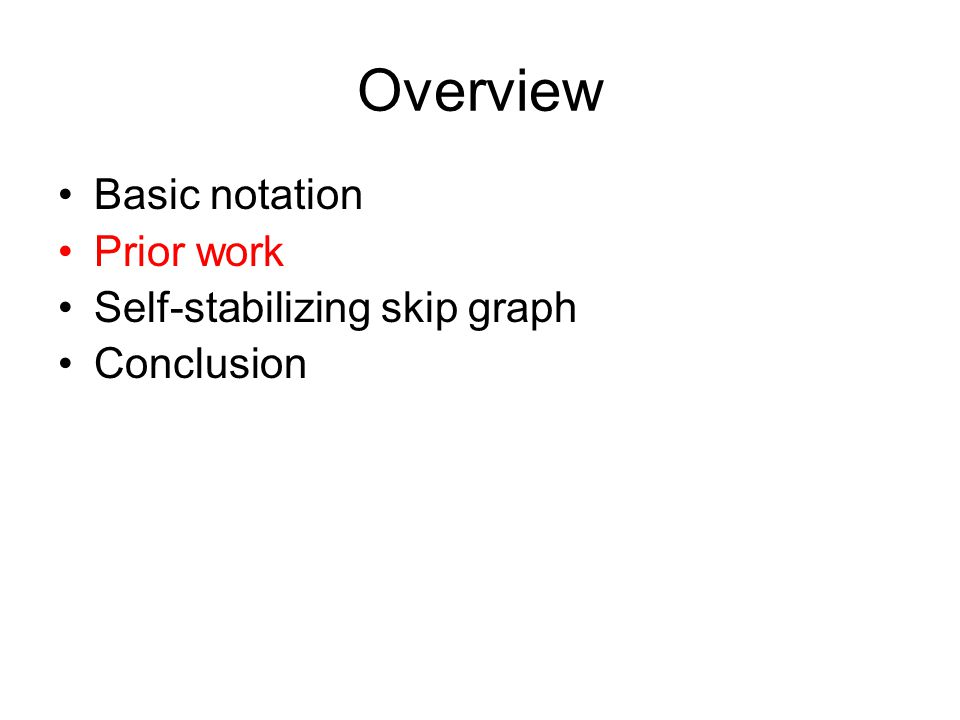 Overview Basic notation Prior work Self-stabilizing skip graph Conclusion
