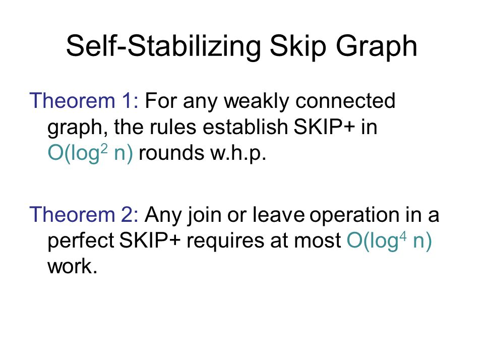 Self-Stabilizing Skip Graph Theorem 1: For any weakly connected graph, the rules establish SKIP+ in O(log 2 n) rounds w.h.p. Theorem 2: Any join or le