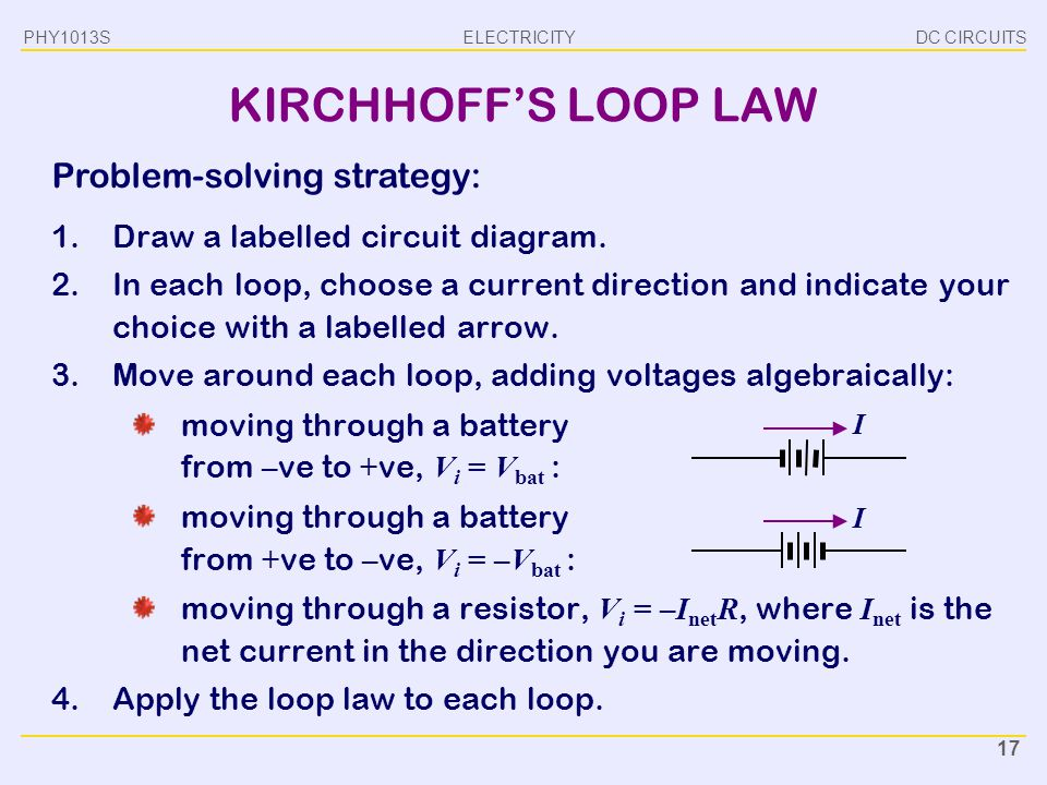ELECTRICITY DC CIRCUITSPHY1013S 17 KIRCHHOFF'S LOOP LAW 1.Draw a labelled circuit diagram. 2.In each loop, choose a current direction and indicate you