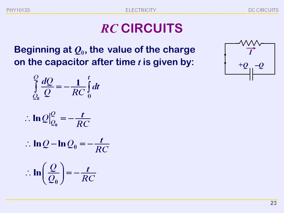 ELECTRICITY DC CIRCUITSPHY1013S 23 RC CIRCUITS Beginning at Q 0, the value of the charge on the capacitor after time t is given by: I +Q+Q–Q–Q