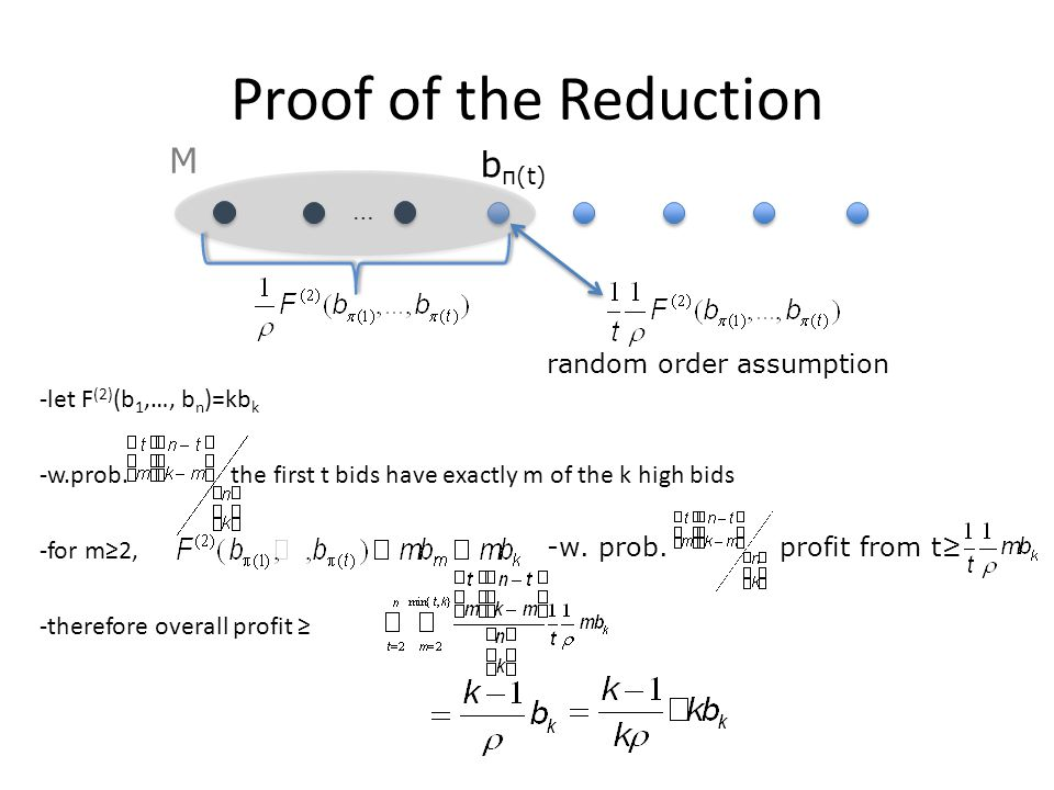 Proof of the Reduction -let F (2) (b 1,…, b n )=kb k -w.prob.