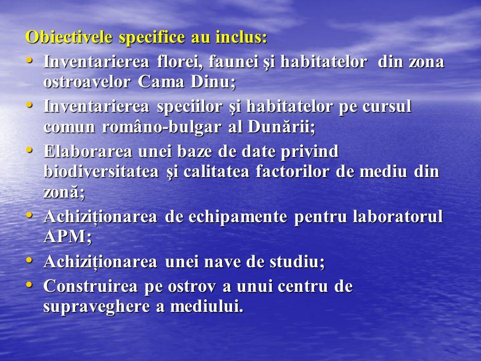 Obiectivele specifice au inclus: Inventarierea florei, faunei şi habitatelor din zona ostroavelor Cama Dinu; Inventarierea florei, faunei şi habitatel