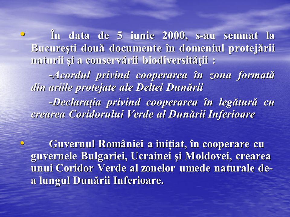 În data de 5 iunie 2000, s-au semnat la Bucureşti două documente în domeniul protejării naturii şi a conservării biodiversităţii : În data de 5 iunie