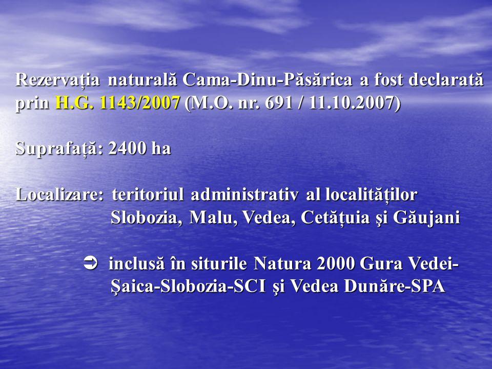 Rezervaţia naturală Cama-Dinu-Păsărica a fost declarată prin H.G. 1143/2007 (M.O. nr. 691 / 11.10.2007) Suprafaţă: 2400 ha Localizare: teritoriul admi