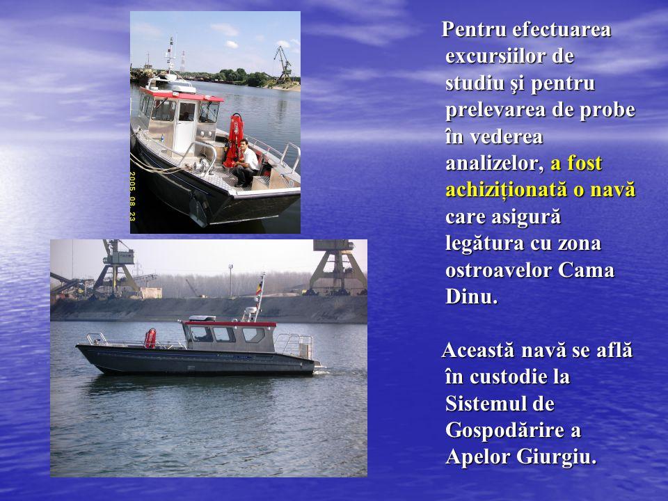 Pentru efectuarea excursiilor de studiu şi pentru prelevarea de probe în vederea analizelor, a fost achiziţionată o navă care asigură legătura cu zona