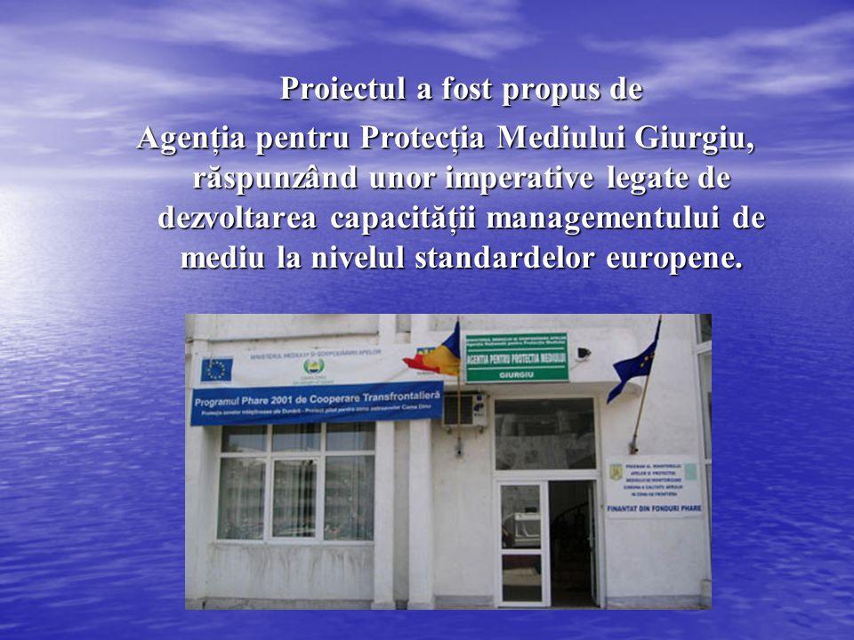 Proiectul a fost propus de Proiectul a fost propus de Agenţia pentru Protecţia Mediului Giurgiu, răspunzând unor imperative legate de dezvoltarea capa