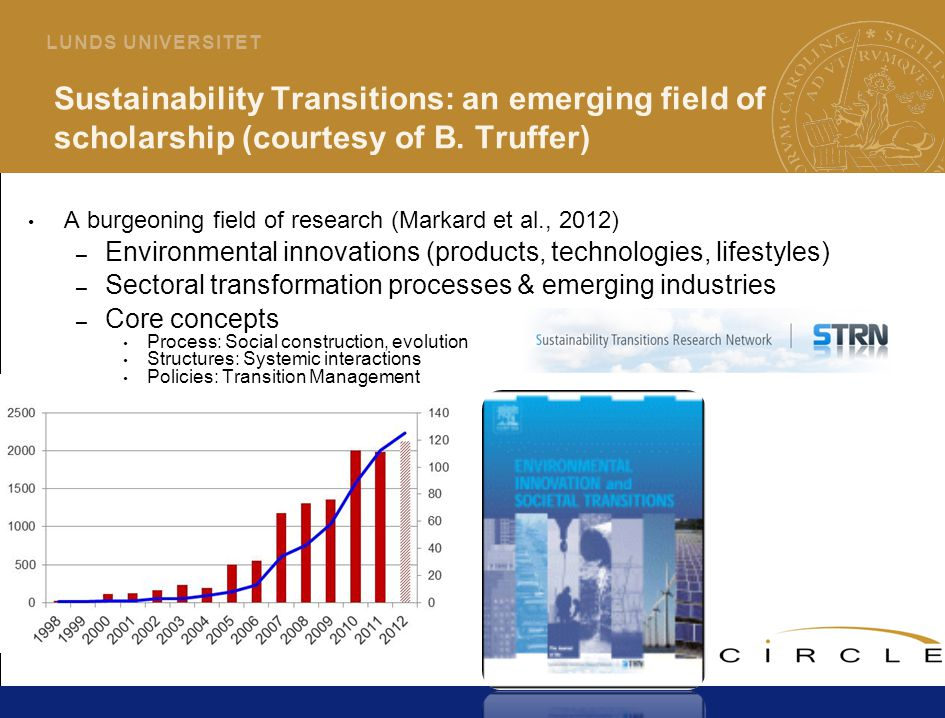 9 L U N D S U N I V E R S I T E T Sustainability Transitions: an emerging field of scholarship (courtesy of B.