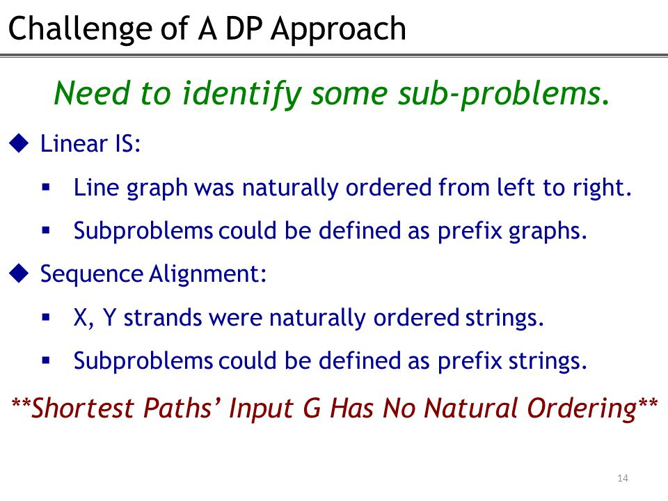 Challenge of A DP Approach 14 Need to identify some sub-problems.