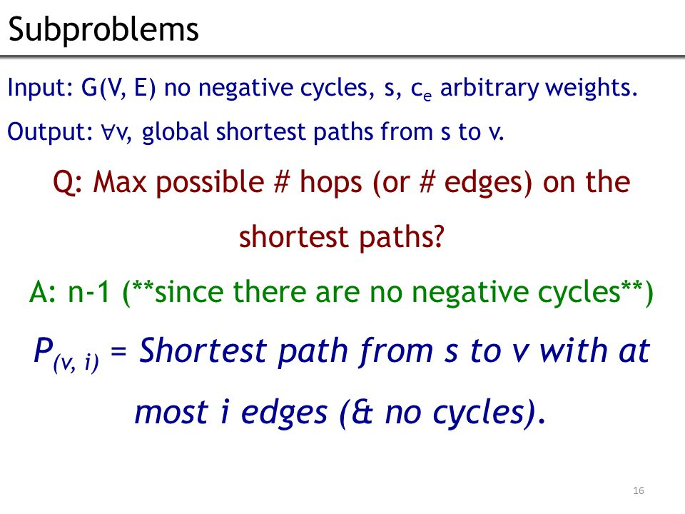 Subproblems 16 Input: G(V, E) no negative cycles, s, c e arbitrary weights. Output: ∀ v, global shortest paths from s to v. Q: Max possible # hops (or