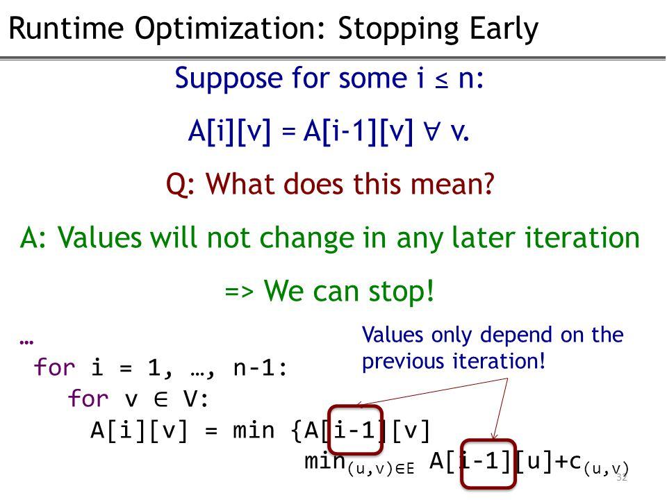 Runtime Optimization: Stopping Early 32 Suppose for some i ≤ n: A[i][v] = A[i-1][v] ∀ v.