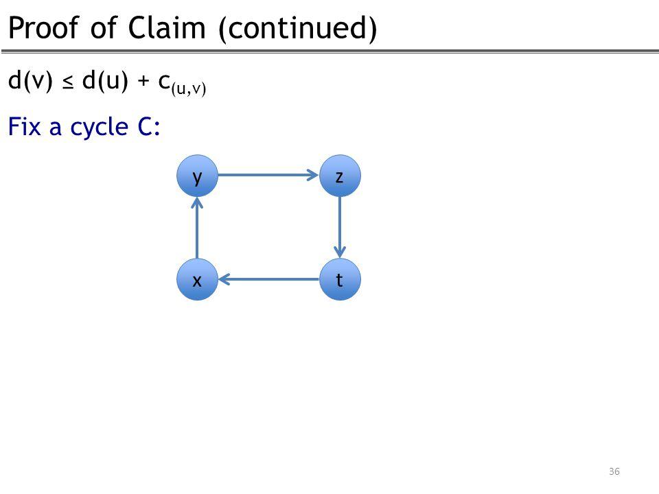 Proof of Claim (continued) 36 d(v) ≤ d(u) + c (u,v) Fix a cycle C: y x z t