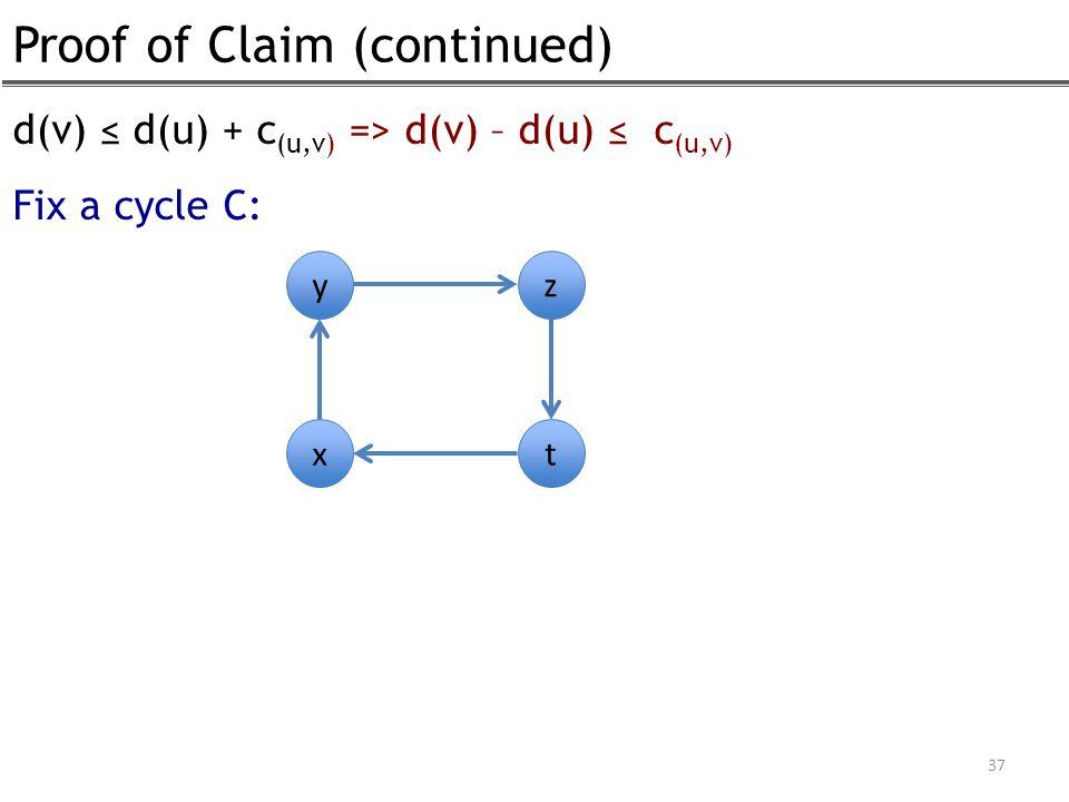 Proof of Claim (continued) 37 d(v) ≤ d(u) + c (u,v) => d(v) – d(u) ≤ c (u,v) Fix a cycle C: y x z t