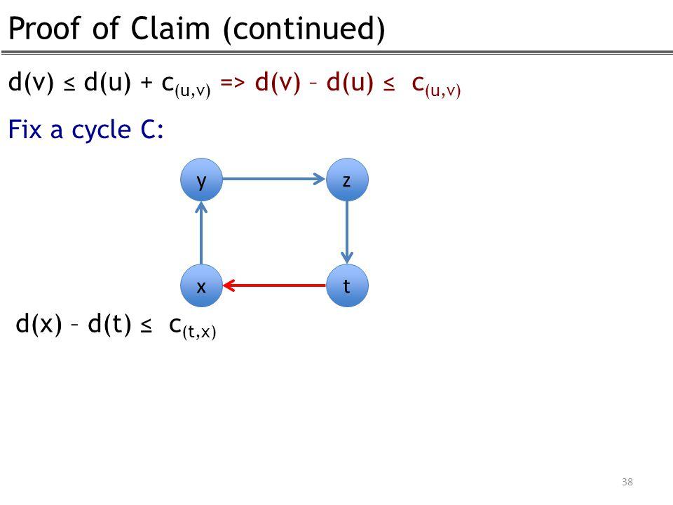 Proof of Claim (continued) 38 d(v) ≤ d(u) + c (u,v) => d(v) – d(u) ≤ c (u,v) Fix a cycle C: y x z t d(x) – d(t) ≤ c (t,x)