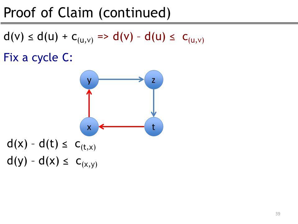 Proof of Claim (continued) 39 d(v) ≤ d(u) + c (u,v) => d(v) – d(u) ≤ c (u,v) Fix a cycle C: y x z t d(x) – d(t) ≤ c (t,x) d(y) – d(x) ≤ c (x,y)