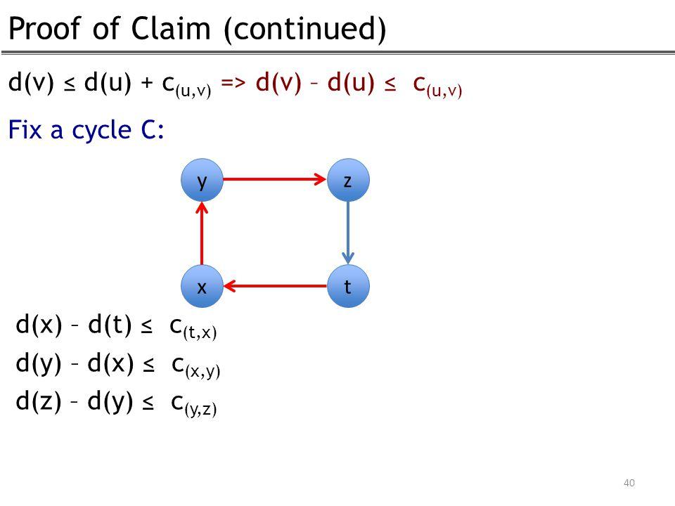 Proof of Claim (continued) 40 d(v) ≤ d(u) + c (u,v) => d(v) – d(u) ≤ c (u,v) Fix a cycle C: y x z t d(x) – d(t) ≤ c (t,x) d(y) – d(x) ≤ c (x,y) d(z) –