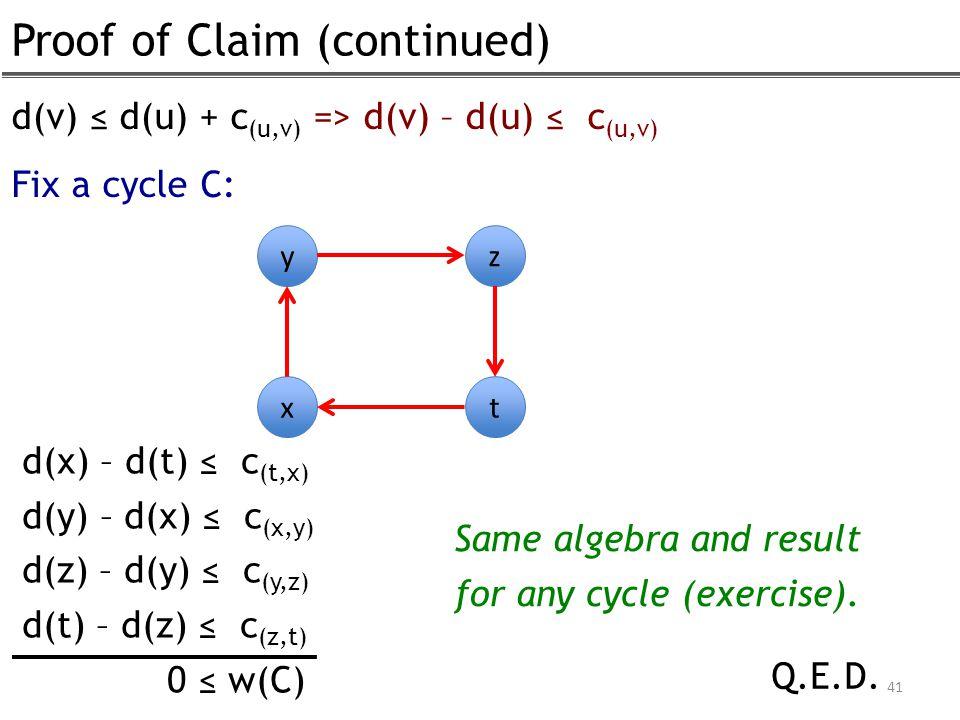 Proof of Claim (continued) 41 d(v) ≤ d(u) + c (u,v) => d(v) – d(u) ≤ c (u,v) Fix a cycle C: y x z t d(x) – d(t) ≤ c (t,x) d(y) – d(x) ≤ c (x,y) d(z) – d(y) ≤ c (y,z) d(t) – d(z) ≤ c (z,t) 0 ≤ w(C) Q.E.D.
