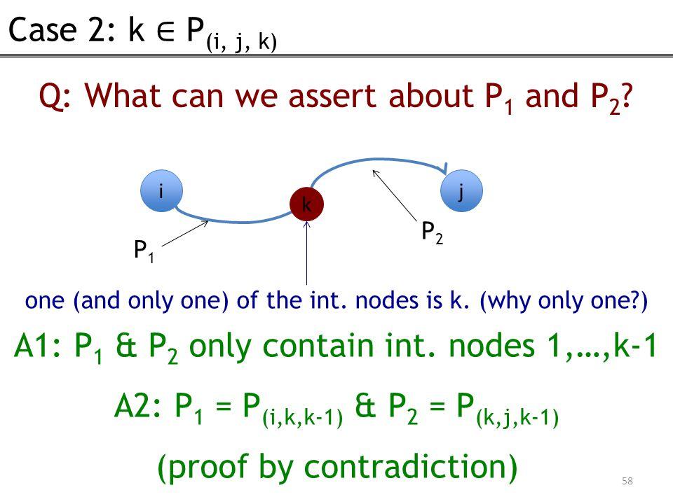 Case 2: k ∈ P (i, j, k) 58 Q: What can we assert about P 1 and P 2 .