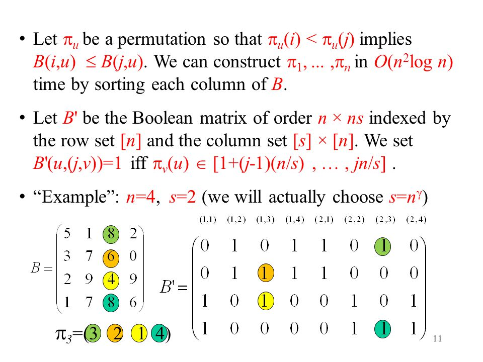  3 =(3 2 1 4) 11 Let  u be a permutation so that  u (i) <  u (j) implies B(i,u)  B(j,u). We can construct  1,...,  n in O(n 2 log n) time by so