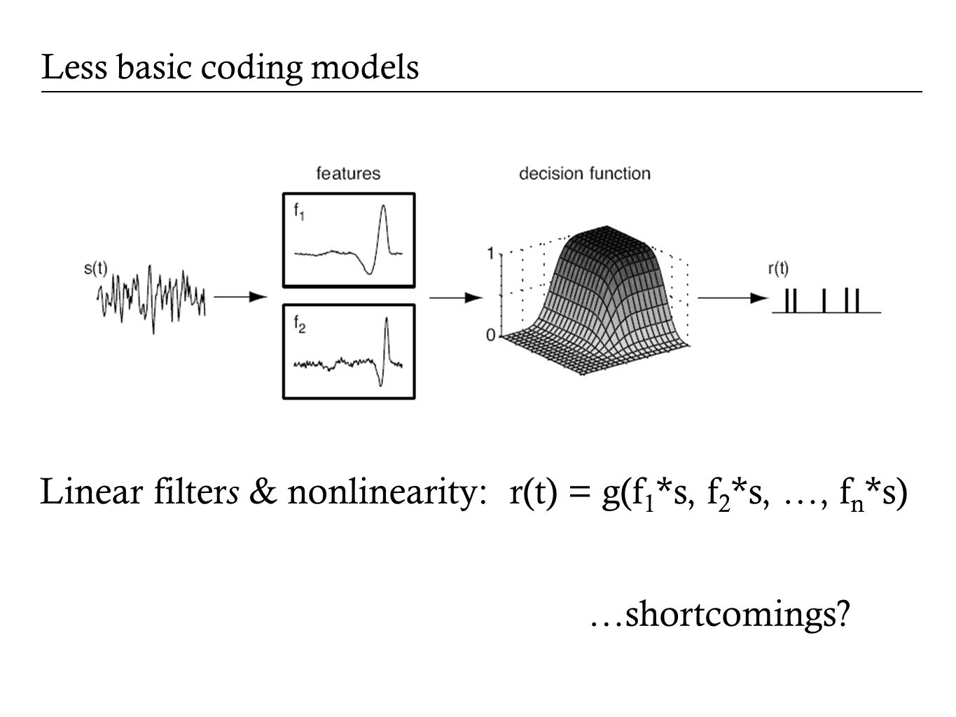 Less basic coding models Linear filter s & nonlinearity: r(t) = g(f 1 *s, f 2 *s, …, f n *s) …shortcomings?